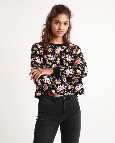 Felpa a fiori nero