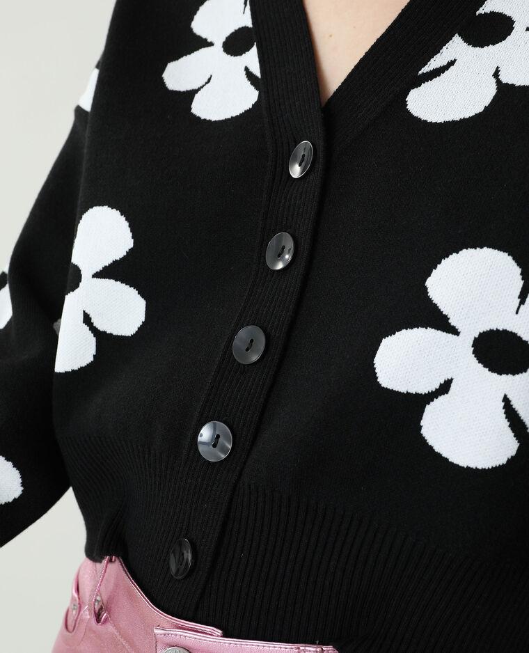 Cardigan a fiori nero