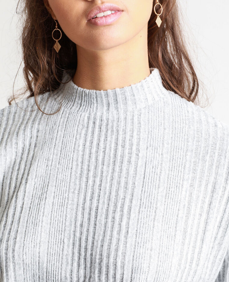 T-shirt a coste grigio chiné