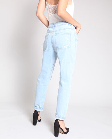 Jeans mom destroy blu denim
