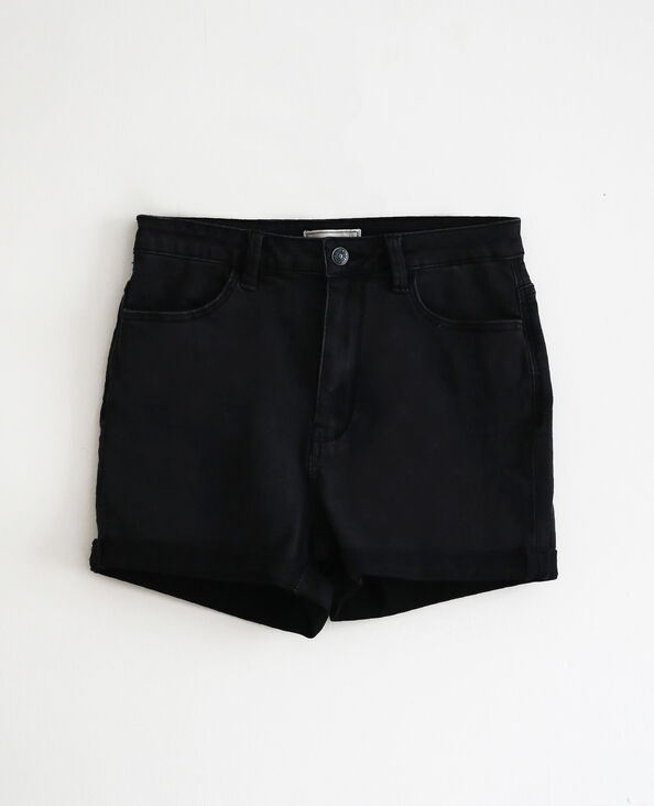 Short di jeans high waist nero