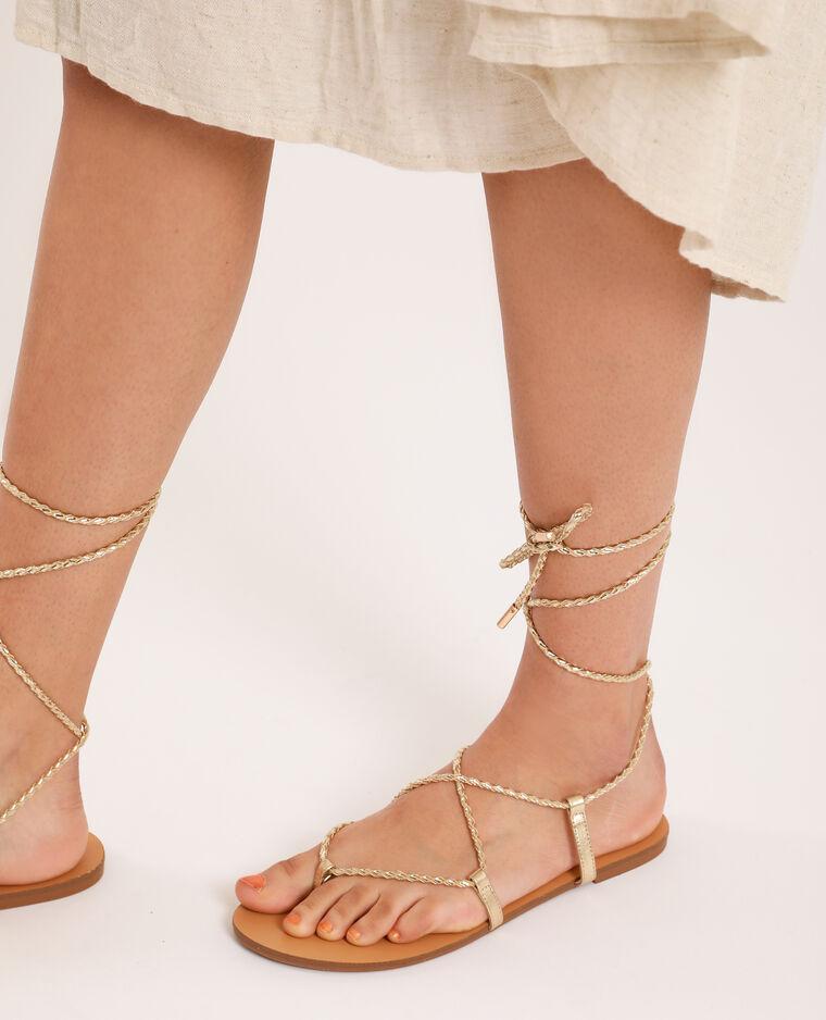 Sandali bassi intrecciati dorato