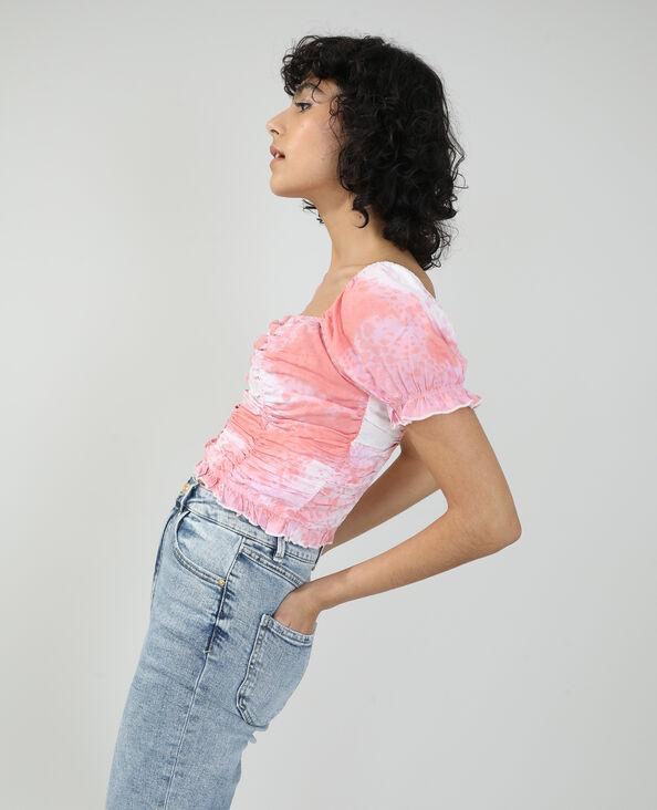 Gesmoktes und gerafftes Top rosa - Pimkie