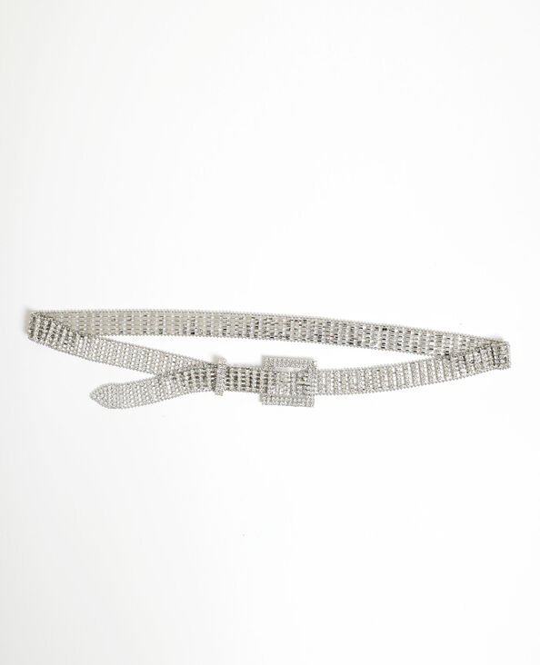 Cintura con strass grigio