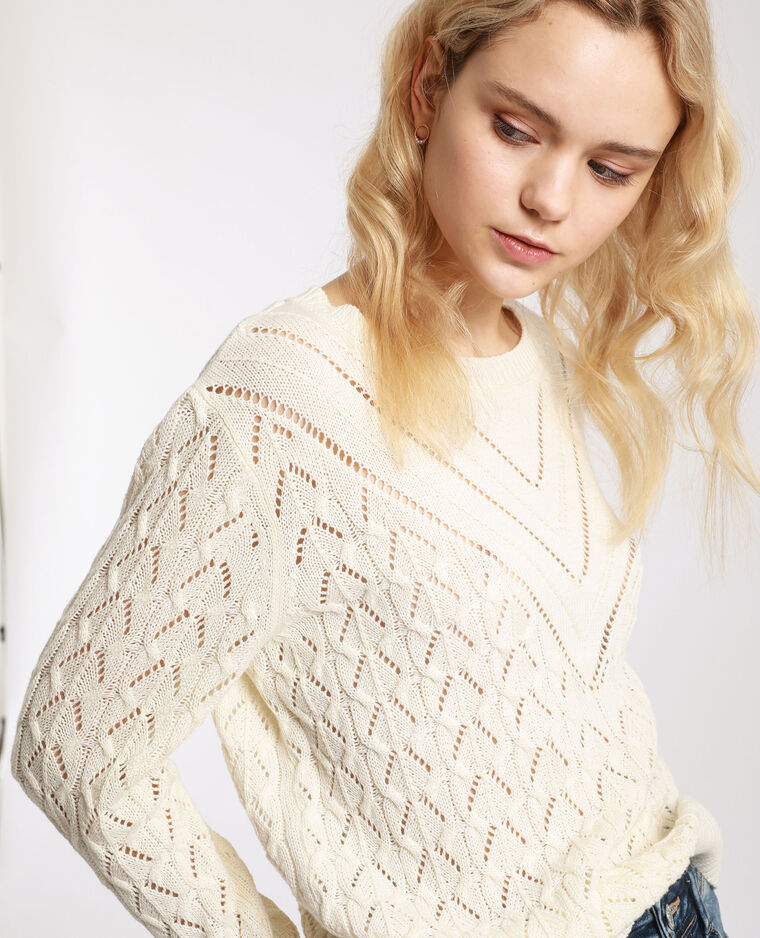 Pull maglia fantasia bianco sporco - Pimkie