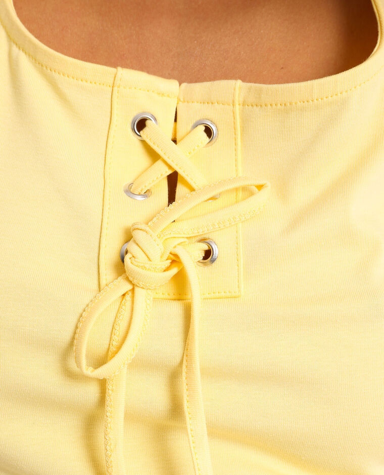 Top corto con laccetti giallo
