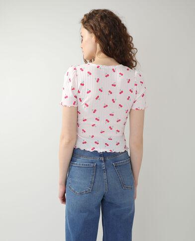 T-shirt con motivi di ciliegie arancio - Pimkie