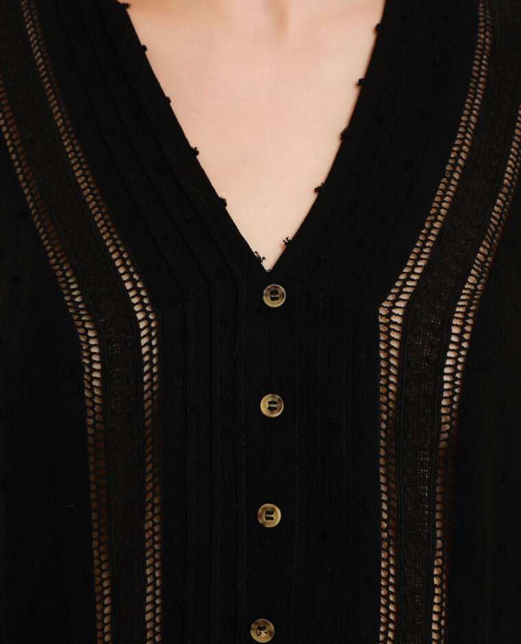 Blusa in plumetis nero