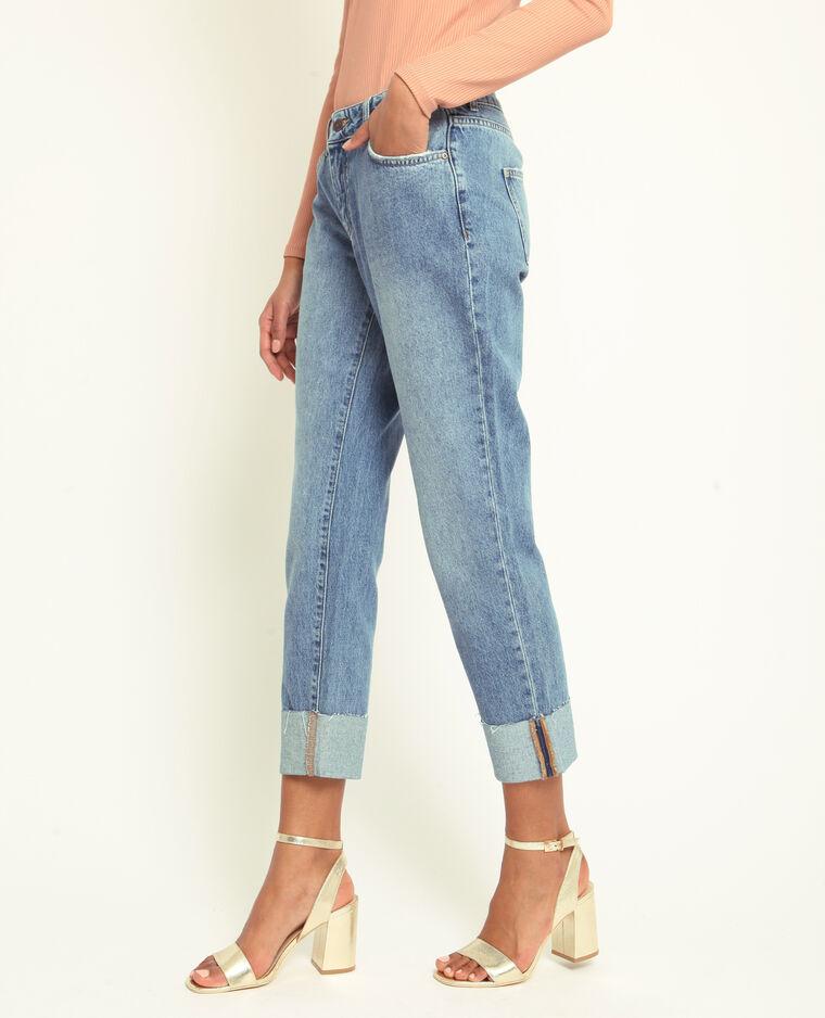 Mom jeans con risvolto blu
