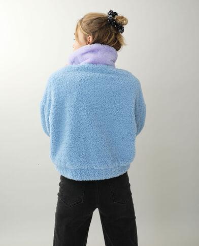 Giacca effetto peluche blu