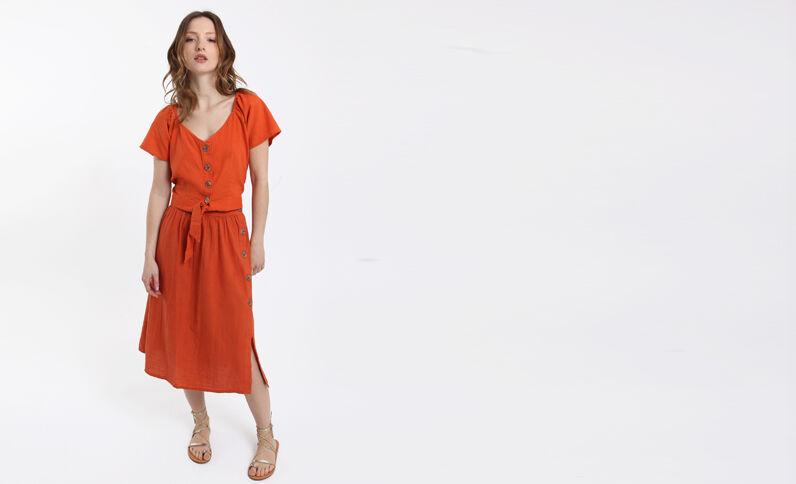 Camicia corta arancio