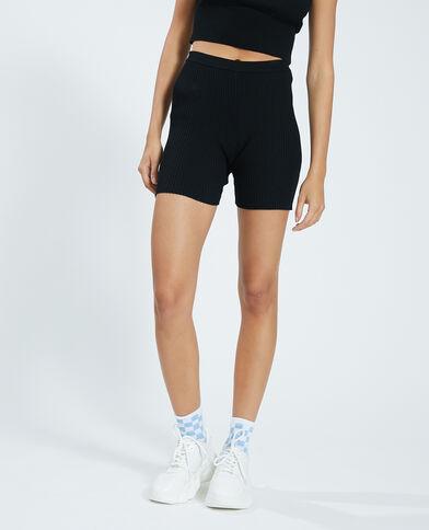 Pantaloncini corti in stile ciclista in maglia a coste nero - Pimkie