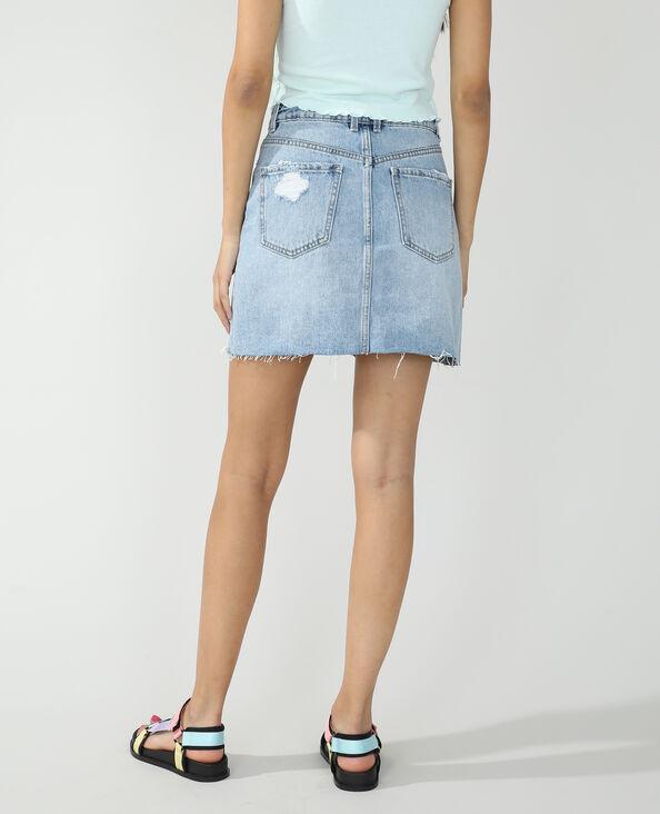 Gonna di jeans destroy blu chiaro - Pimkie