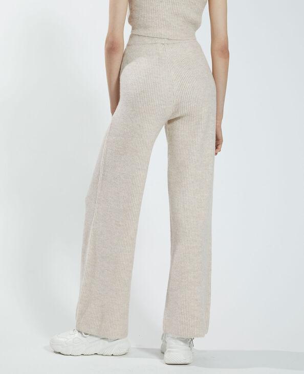 Pantalone wide leg a coste beige rosato - Pimkie