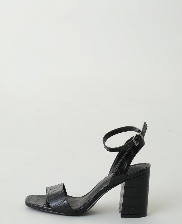 Sandali con tacco effetto coccodrillo nero - Pimkie