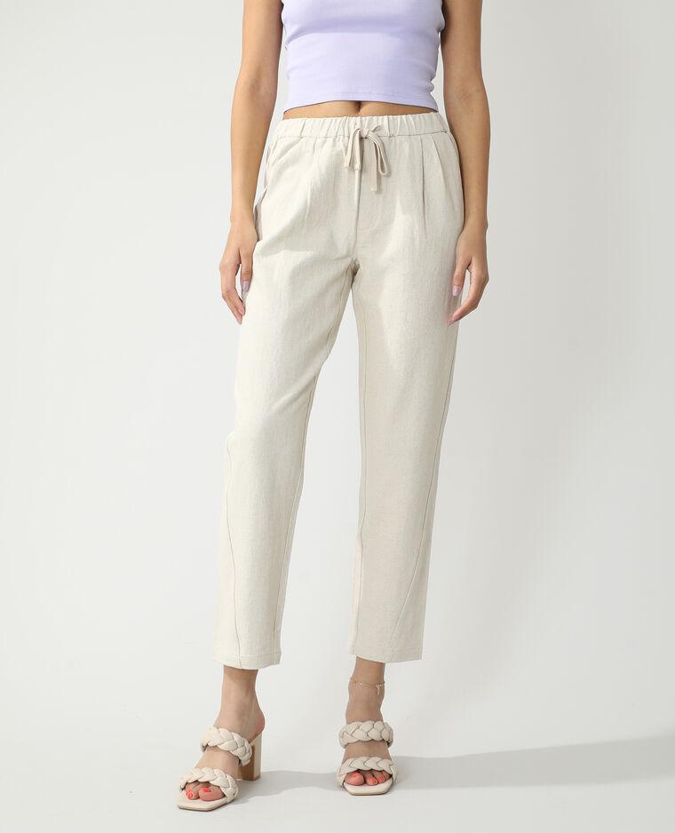 Pantalone da jogging con lino beige - Pimkie