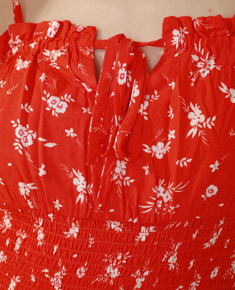 Abito floreale con smock rosso - Pimkie