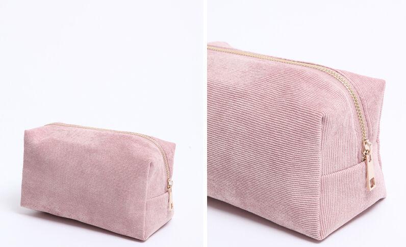 Trousse per il trucco velluto rosa