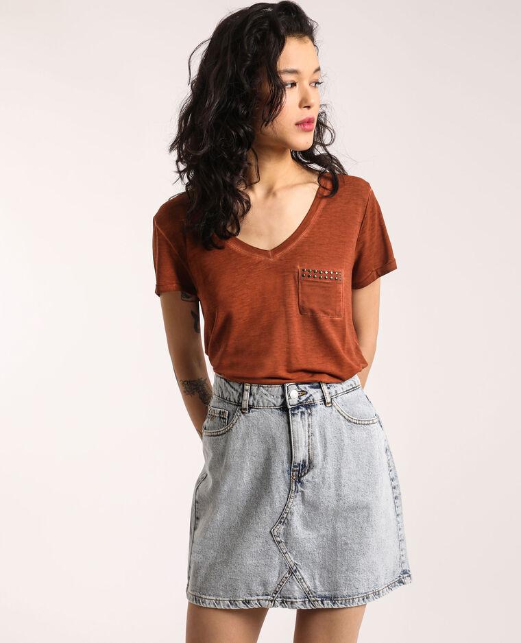T-shirt con collo a V marrone
