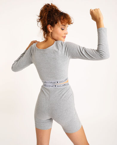 Top cropped loungewear grigio chiné