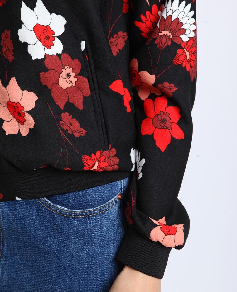 Bomber morbido a fiori Nero