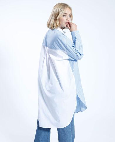 Abito camicia a due colori oversize a righe blu - Pimkie