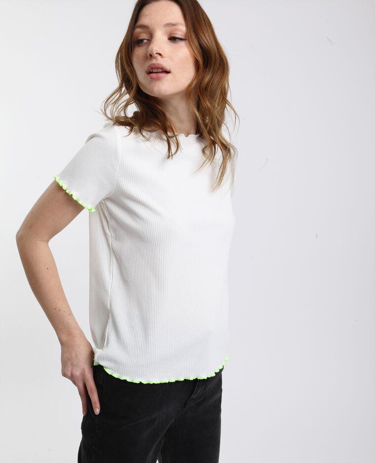 T-shirt a coste bianco