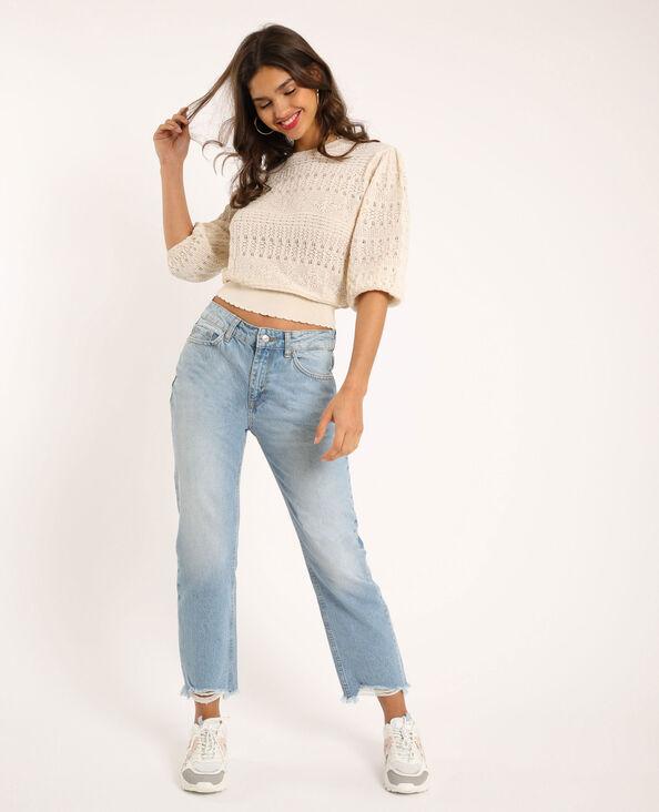 Jeans dritto high waist blu delavato