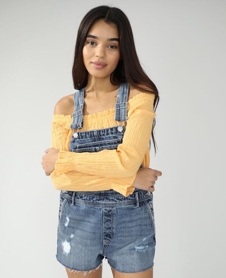 Salopette short di jeans blu denim - Pimkie
