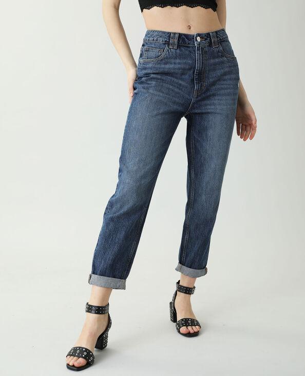 Jeans mom blu grezzo