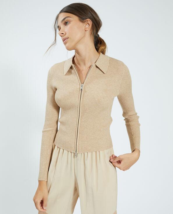 Cardigan con zip a coste sottili beige - Pimkie