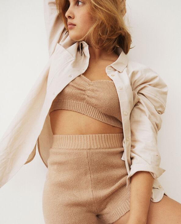 Camicia oversize in velluto a coste beige