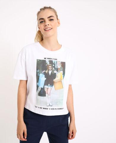 T-shirt con meme écru