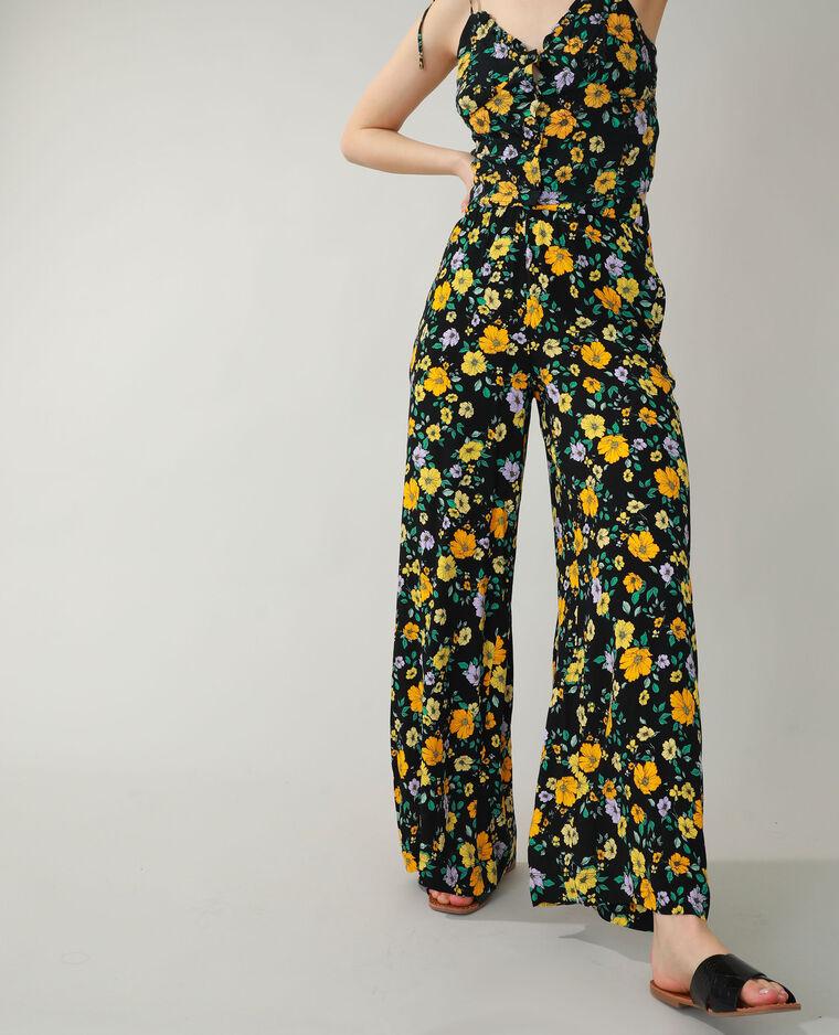 Pantalone wide leg a fiori nero - Pimkie