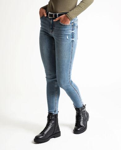 Jeans push up mid waist blu denim