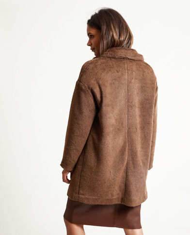 Cappotto in pelliccia ecologica marrone