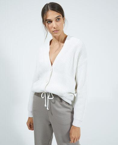 Cardigan in maglia spessa bianco - Pimkie