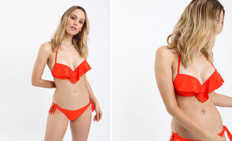 Pezzo sopra di bikini con volant rosso