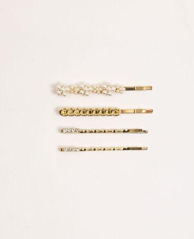 Lotto di 4 forcine con gioielli dorato
