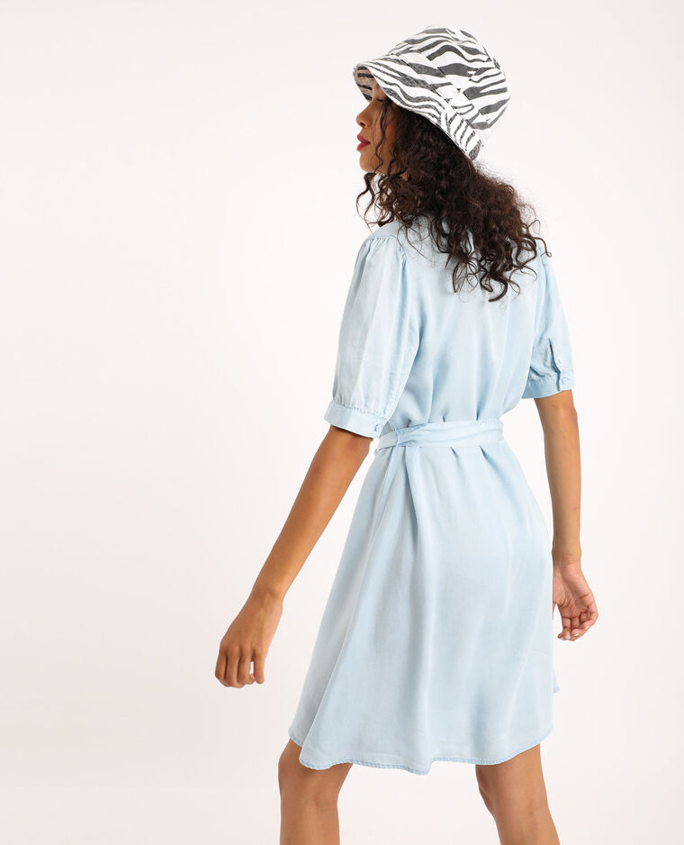 Abito camicia in tencel blu chiaro