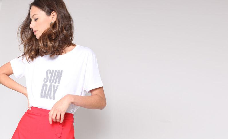 T-shirt con messaggio écru