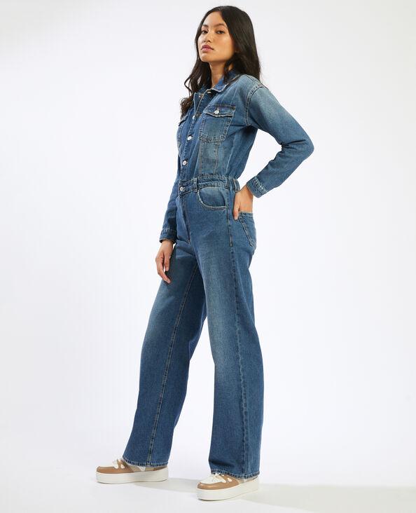 Abito pantalone in jeans con gamba ampia blu denim - Pimkie