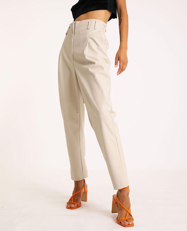 Pantalone city in similpelle beige corda