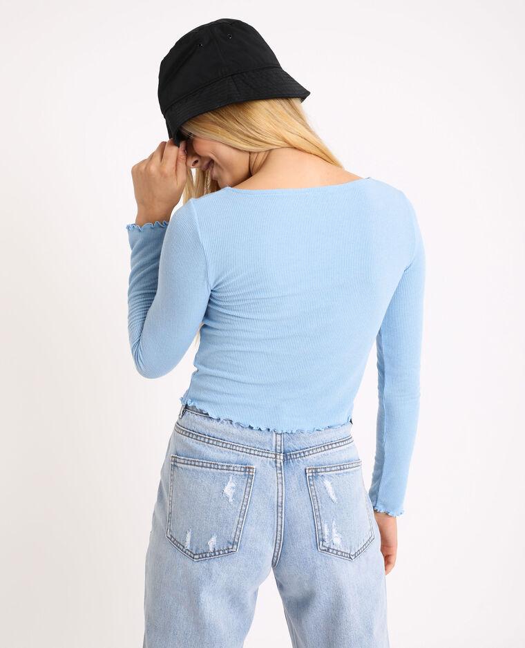 Top corto a maniche lunghe. blu