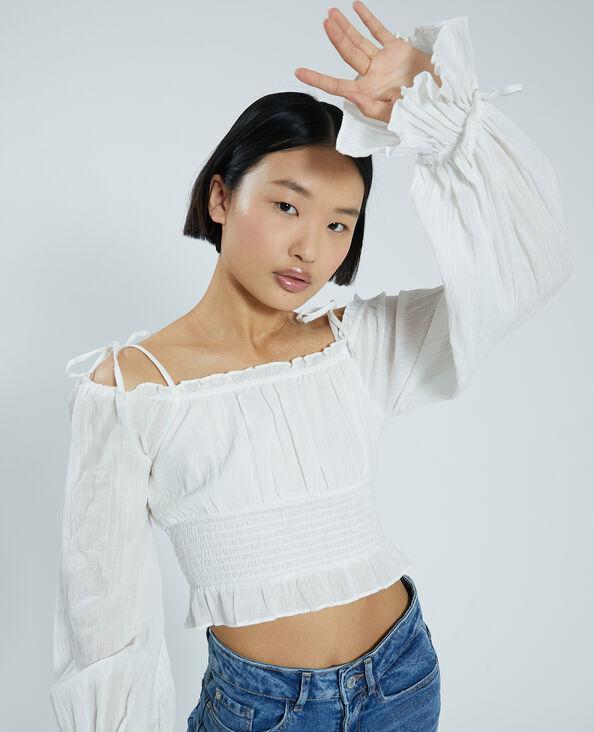 Blusa corta bianco sporco - Pimkie