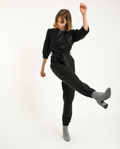 Abito pantalone in similpelle nero