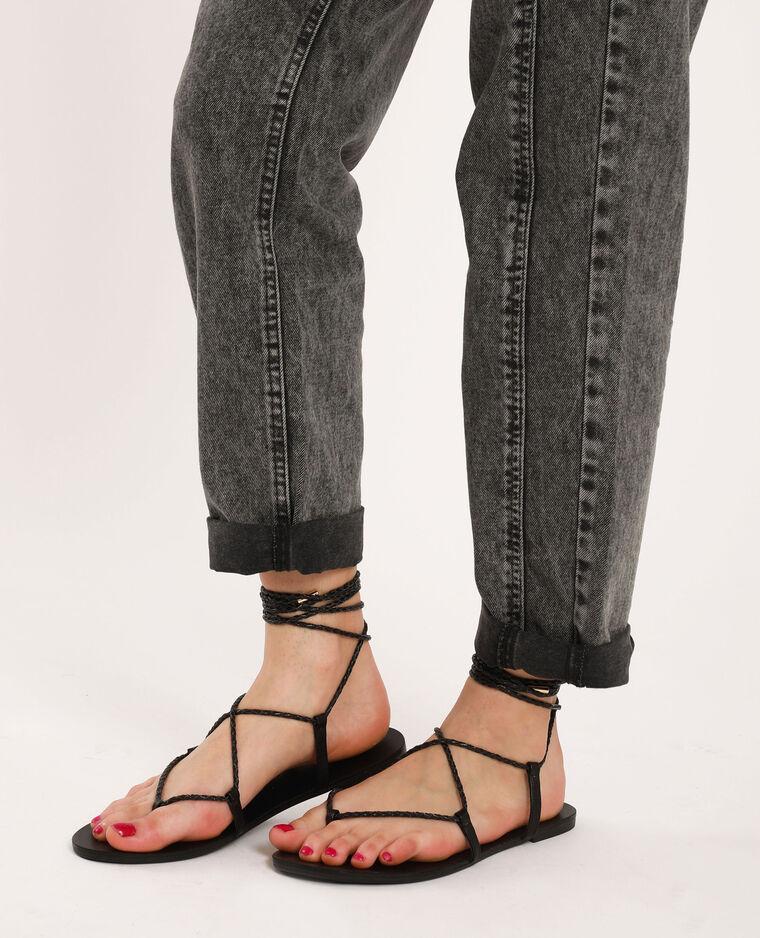 Sandali bassi intrecciati nero