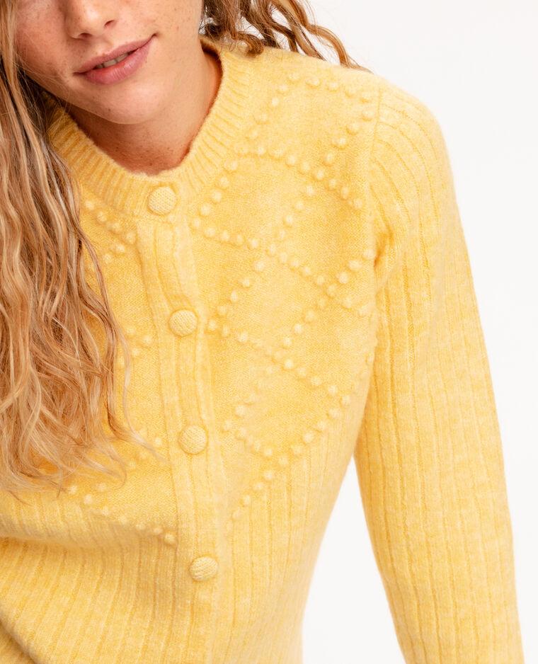Cardigan in maglia fantasia giallo