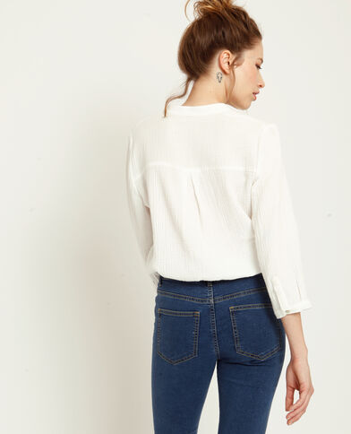 Camicia maniche 3/4 bianco sporco