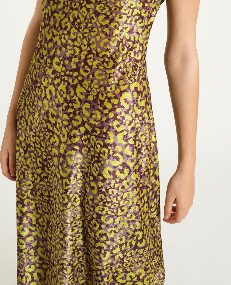 Abito in velluto leopardato viola
